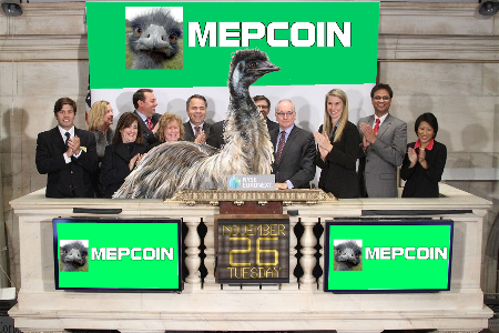 The emu rings the opening bell late last month to usher in the new flightless bird-based currency.